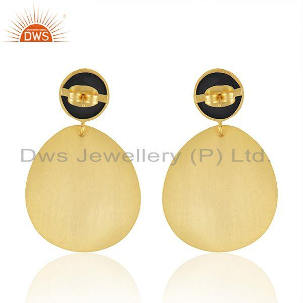 Suppliers Black Onyx Gemstone Texture Gold Plated Handmade Fashion Earrings Jewelry
