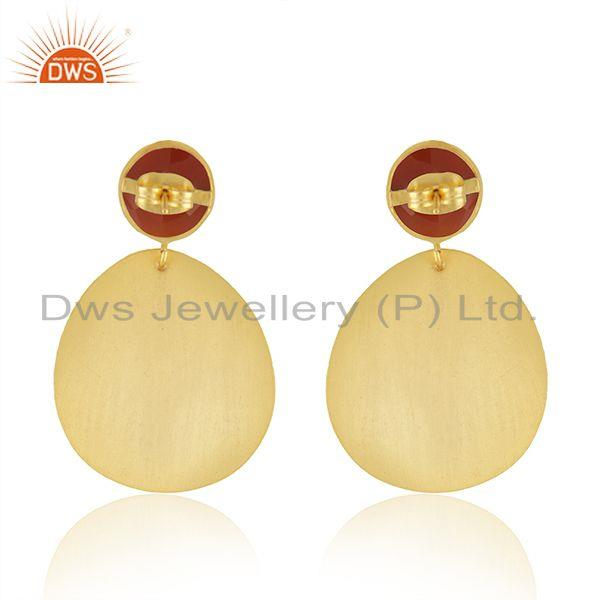 Suppliers Texture Gold Plated Brass Designer Red Onyx Gemstone Fashion Earrings Jewelry