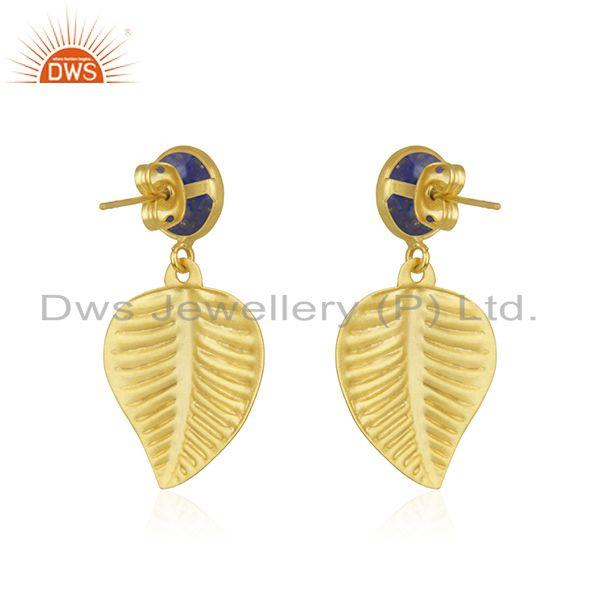 Suppliers Wholesale Lapis Gemstone Gold Plated Brass Leaf Designer Fashion Earrings