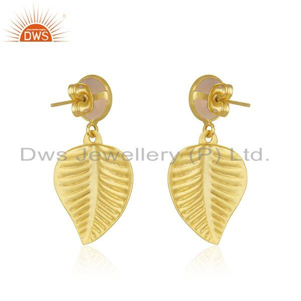 Suppliers Rose Chalcedony Gemstone Designer Gold Plated Fahsion Earrings Jewelry