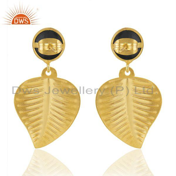 Suppliers Leaf Shape Gold Plated Brass Fashion Black Onyx Earrings Jewelry Supplier