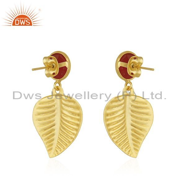 Suppliers Wholesale Gold Plated Designer Brass Red Onyx Gemstone Earrings Jewelry