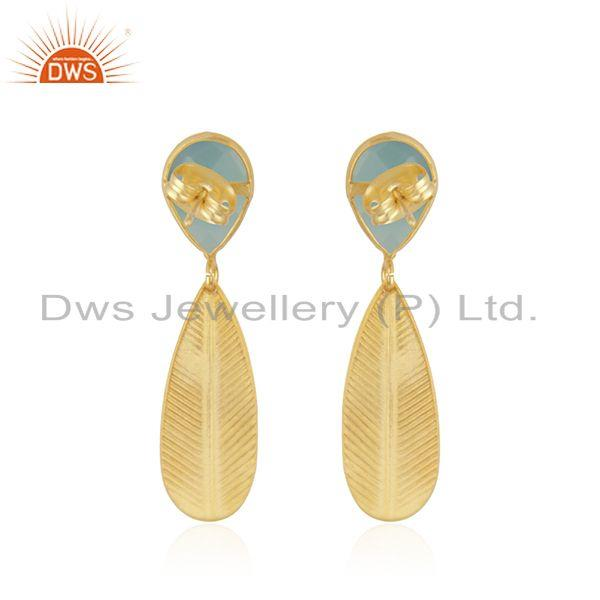 Suppliers Texture Designer Gold Plated Aqua Chalcedony Brass Fashion Earrings