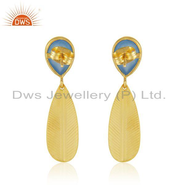 Suppliers Manufacturer Gold Plated Brass Blue Chalcedony Fashion Earrings Jewelry