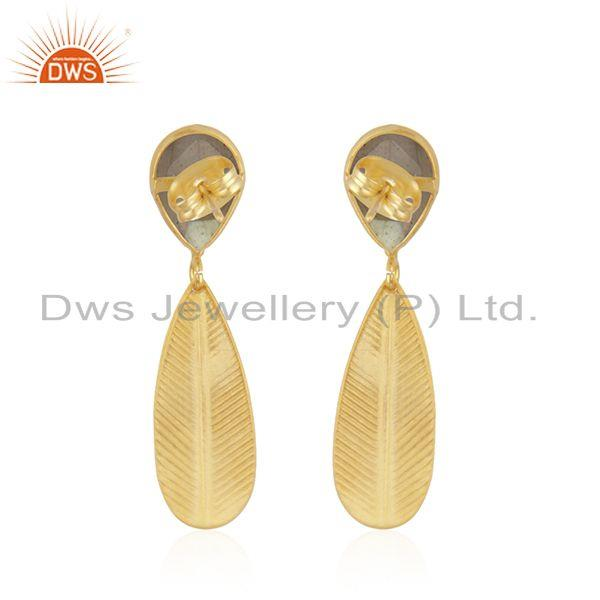 Suppliers Labradorite Gemstone Texture Yellow Gold Plated Fashion Brass Earrings Jewelry