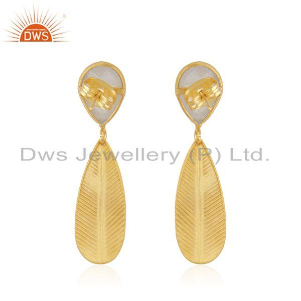 Suppliers Wholesale Rainbow Moonstone Gold Plated Fashion Brass Earrings Jewelry