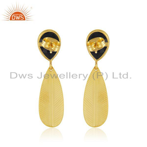 Suppliers Black Onyx Gemstone Designer Brass Gold Plated Fashion Earrings Jewelry