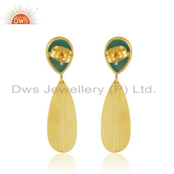 Suppliers Fashion Gold Plated Brass Green Onyx Gemstone Earrings Jewelry