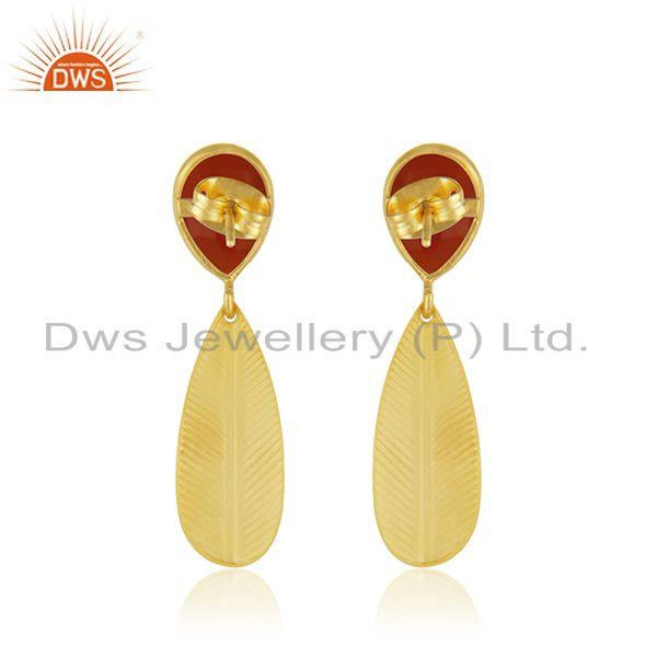 Suppliers Handmade Design Gold Plated Brass Red Onyx Gemstone Earrings Jewelry