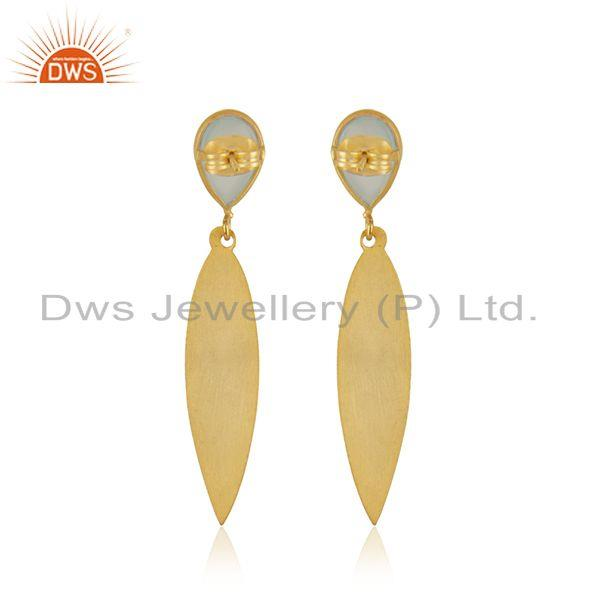 Suppliers Indian Gold Plated Brass Designer Aqua Chalcedony Earrings Jewelry