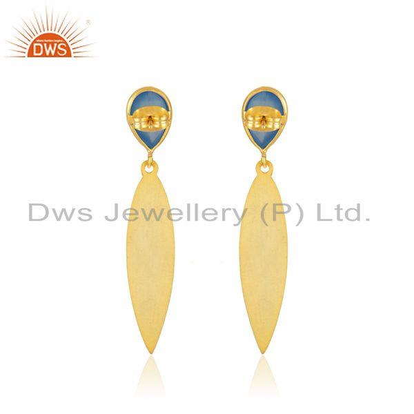 Suppliers Texture Designer Gold Plated Brass Blue Chalcedony Gemstone Earrings Jewelry