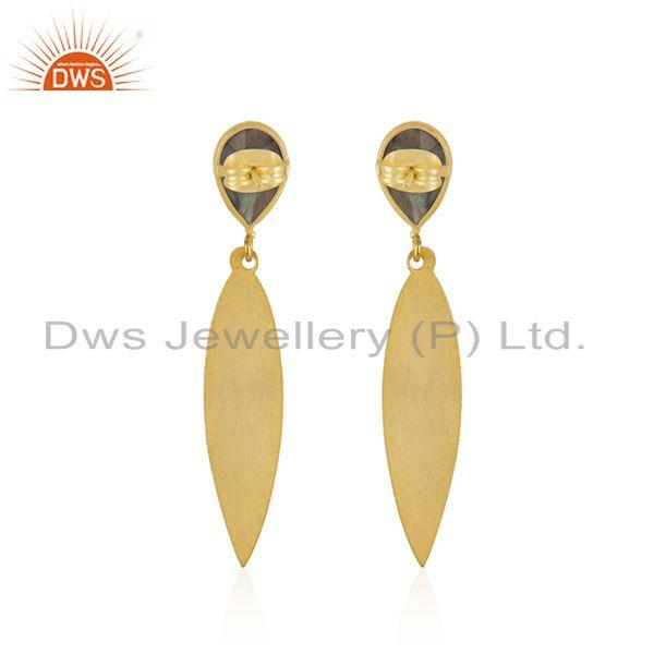 Suppliers Labradorite Gemstone Texture Gold Plated Brass Earrings Jewelry