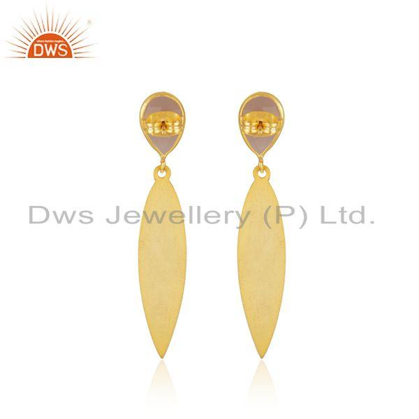 Suppliers Manufacturer Texture Brass Fashion Rose Chalcedony Gemstone Earrings Jewelry