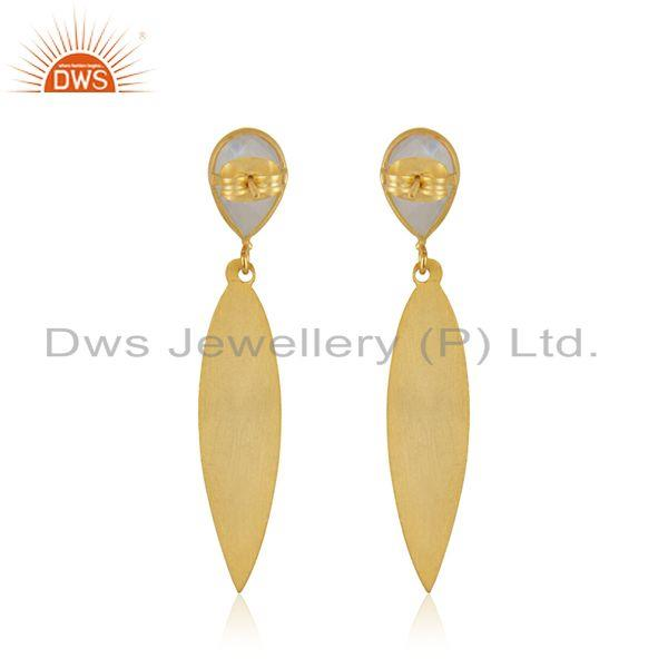 Suppliers Rainbow Moonstone Gemstone Textured Gold Plated Brass Fashion Earrings Jewelry