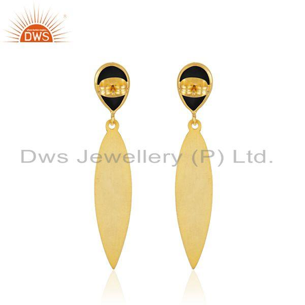 Suppliers Designer Textured Brass Fashion Black Onyx Gemstone Earrings Jewelry