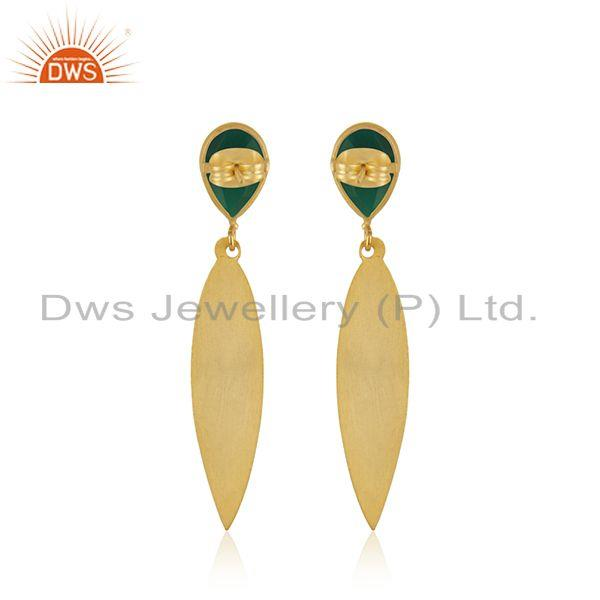 Suppliers Green Onyx Gemstone Designer Brass Fashion Earrings Jewelry Manufacturer