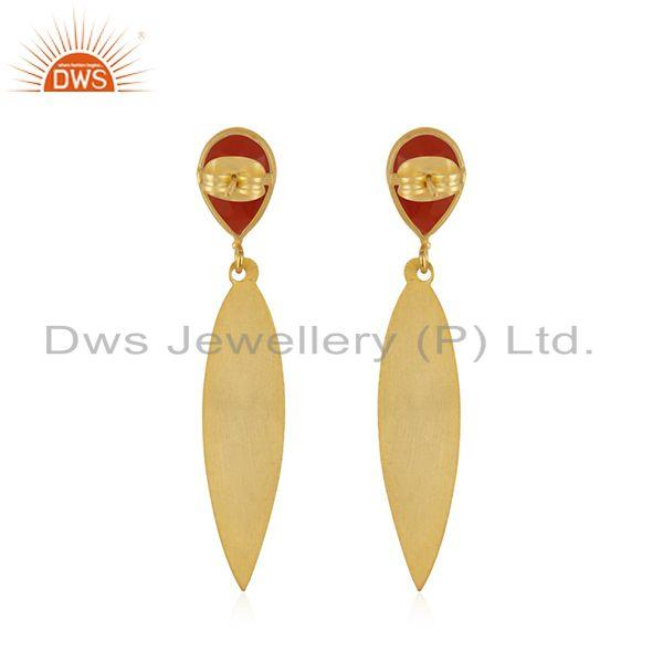 Suppliers Red Onyx Gemstone Designer Texture Brass Earrings Fashion Jewelry