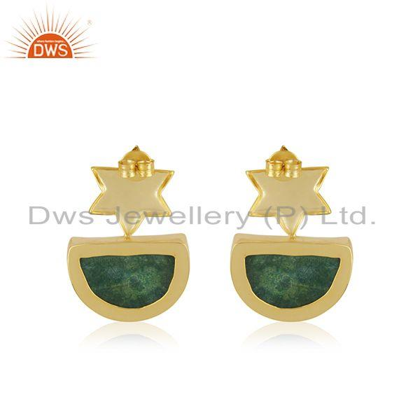 Suppliers Handcrafted Floral Design Druzy Green Gemstone Earrings Wholesaler India
