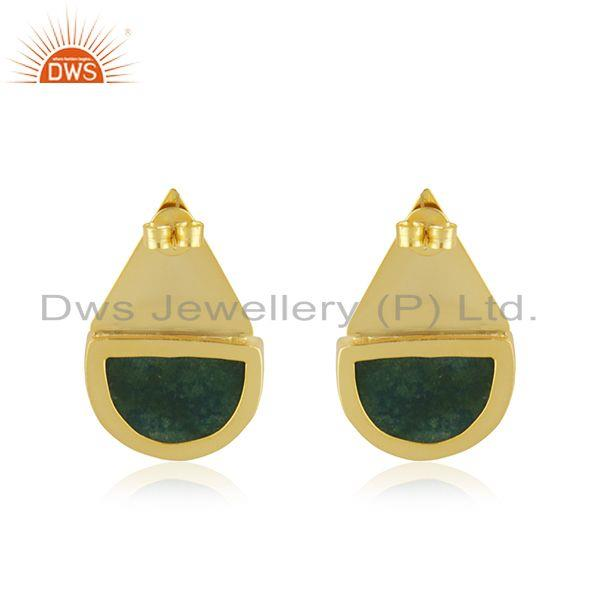 Suppliers Indian Handcrafted Brass Fashion Gold Plated Green Gemstone Stud Earrings