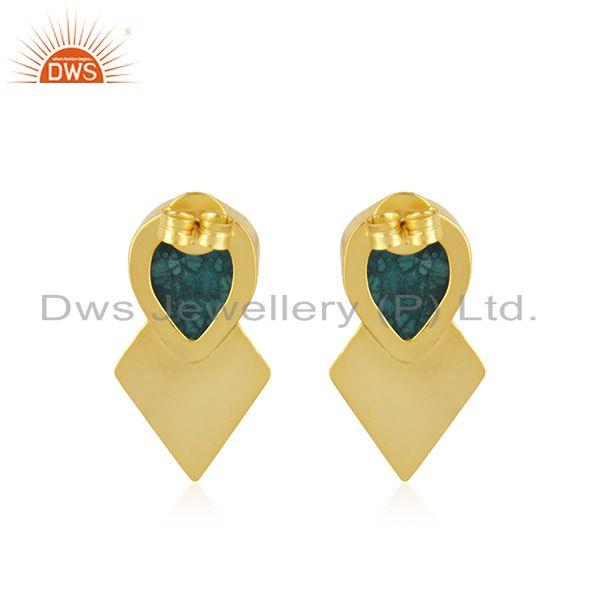 Suppliers Green Druzy Gemstone Gold Plated Floral Design Stud Earrings For Womens