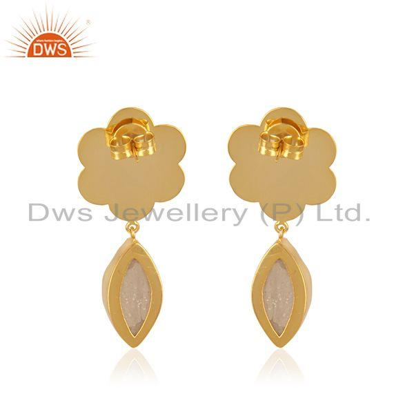 Suppliers Designer Gold Plated Brass Fashion White Druzy Gemstone Drop Earrings Wholesale