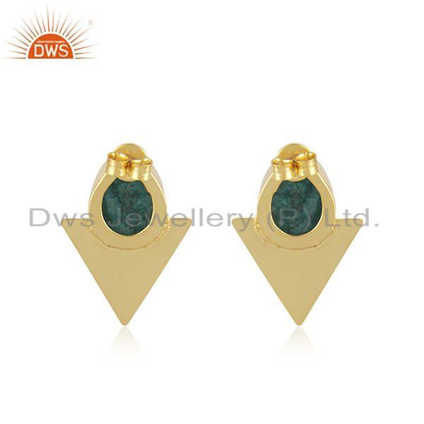 Suppliers Triangle Design Gold Plated Brass Fashion Green Gemstone Stud Earrings Suppliers