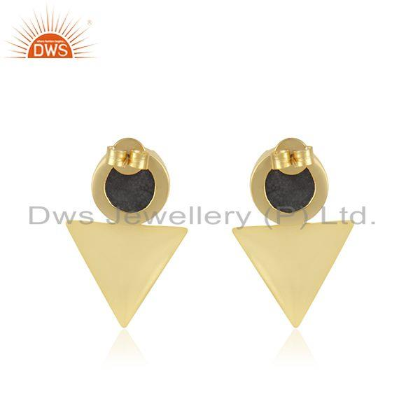 Suppliers Designer Yellow Gold Plated Brass Fashion Druzy Gemstone Stud Earrings for Girls