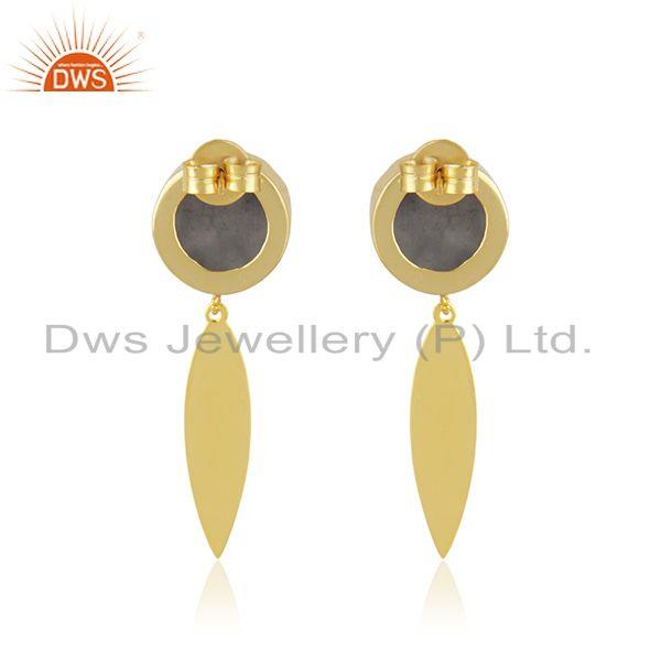 Suppliers Indian Handmade Gold Plated Brass Fashion Gemstone Dangle Earrings Manufacturer
