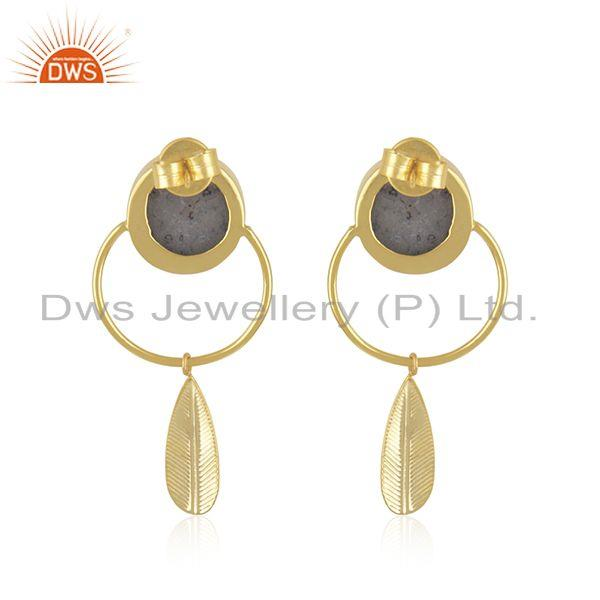 Suppliers 14k Yellow GOld Plated Brass Fashion Druzy Gemstone Dangle Earrings Manufacturer