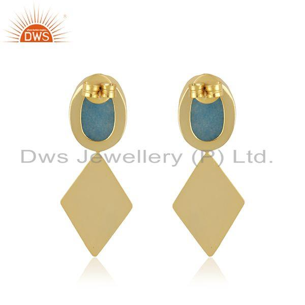 Suppliers Druzy Sky Blue Gemstone Gold Plated Brass Fashion Earrings Manufacturer India