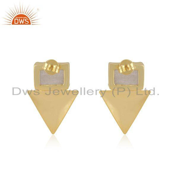 Suppliers White Druzy Yellow Gold Plated Brass Fashion Stud Earrings Manufacturer INdia