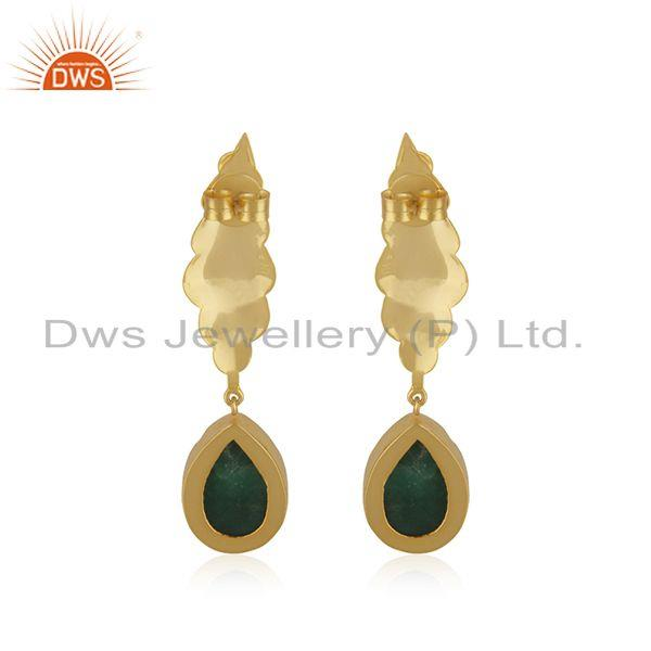 Suppliers Green Druzy Gemstone Floral Design Brass Gold Plated Dangle Earrings manufacture