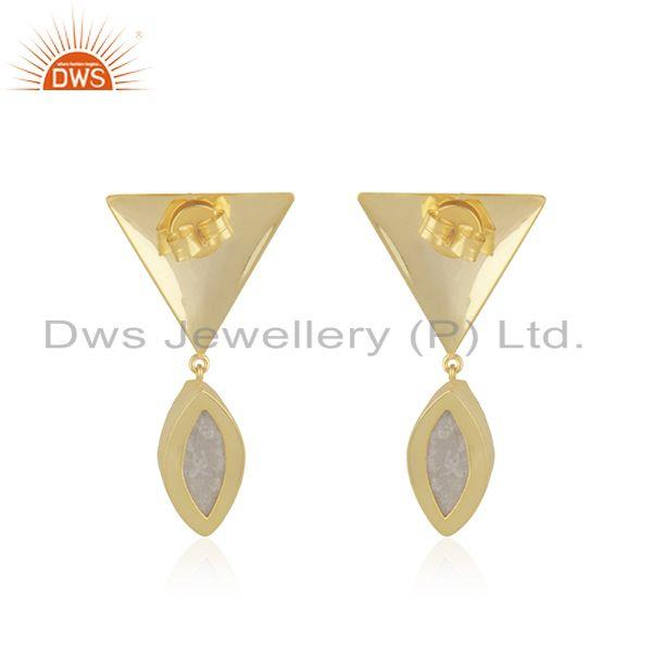 Suppliers White Druzy Yellow Gold Plated Brass Fashio Floral Design Earring Manufacturer