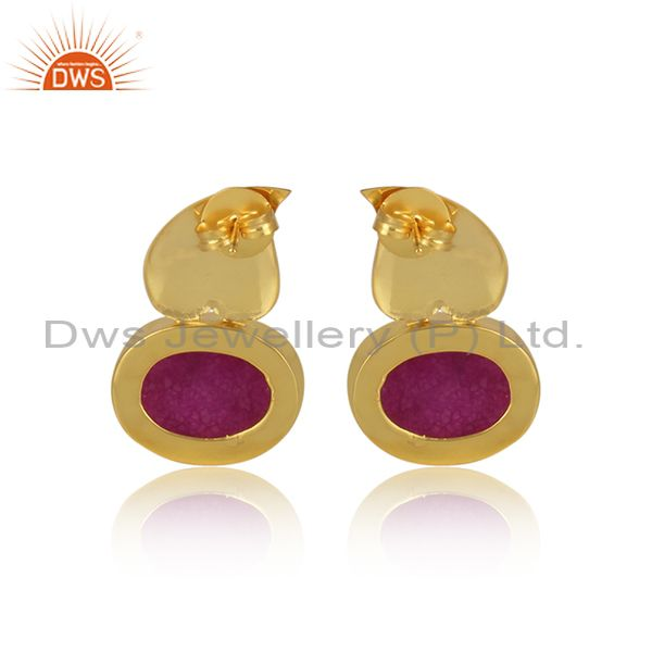 Suppliers Druzy Pink Gemstone Gold Plated Brass Fashion Floral Earrings Manufacturer India
