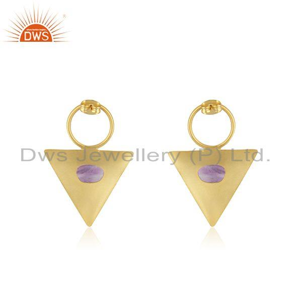 Suppliers Yellow GOld Plated Brass Fashion Triangle Earrings Manufacturer from india