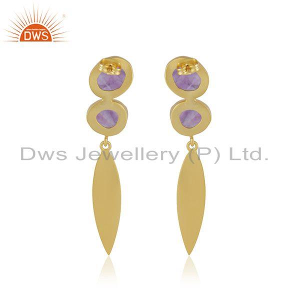 Suppliers Amethyst Gemstone Yellow Gold Plated Brass Fashion Earrings Manufacturer INdia
