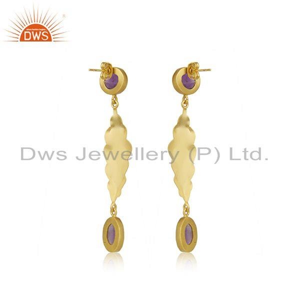 Suppliers Amethyst Gemstone Yellow Gold Plated Brass Fashion Earrings Wholesaler