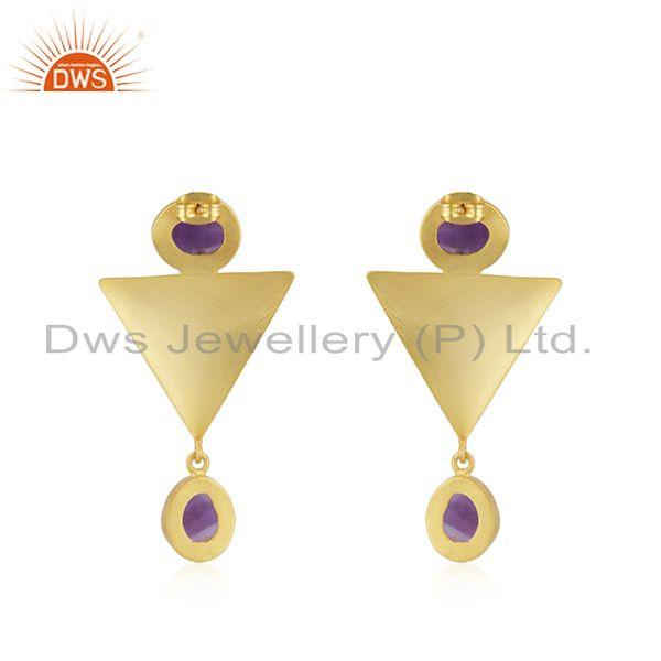 Suppliers Triangle Design Gold Plated Brass Fashion Amethyst Gemstone Earrings Manufacture