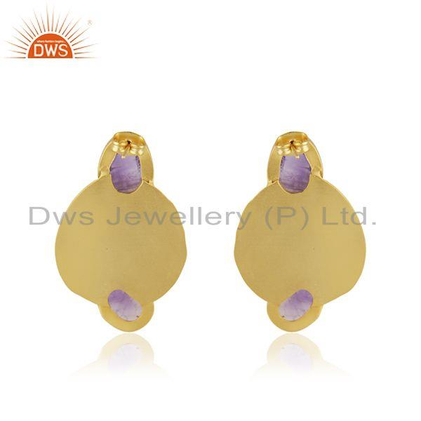 Suppliers Amethyst Gemstone Gold Plated Brass Fashion Earrings Manufacturer India