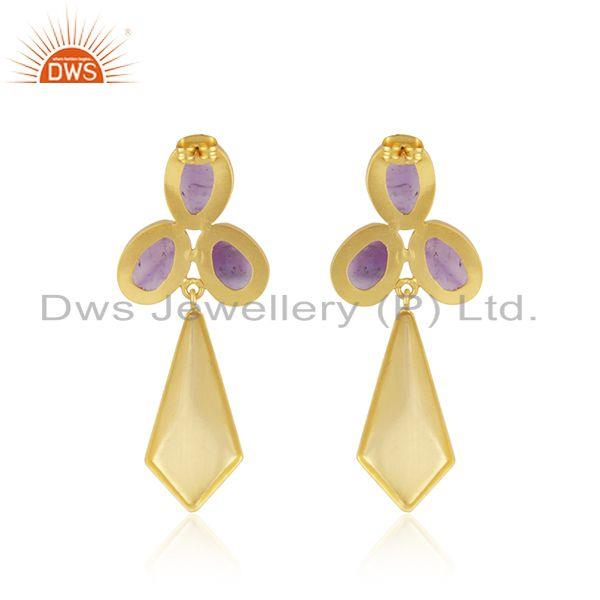 Suppliers Amethyst Gemstone 14k Gold Plated Brass Fashion Girls Earrings Manufacturer