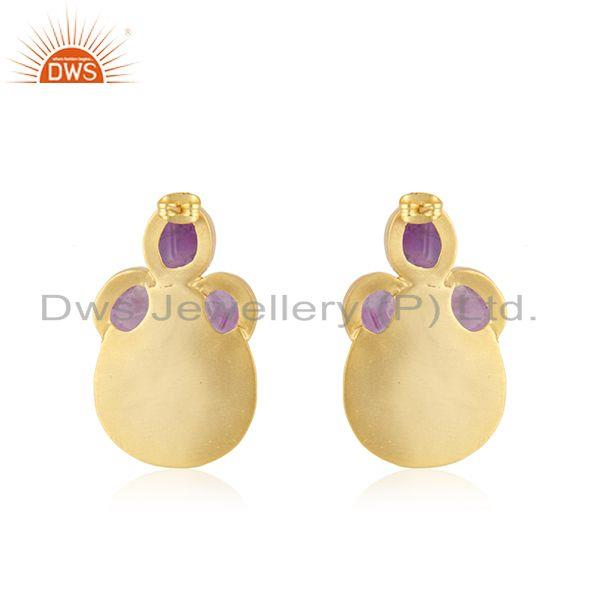 Suppliers Amethyst Gemstone Gold Plated Brass Fashion Stud Earrings Wholesaler India