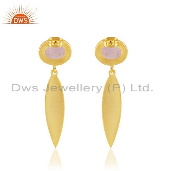 Suppliers Handmade Brass Yellow Gold Plated Amethyst Gemstone Fashion Earrings Supplier