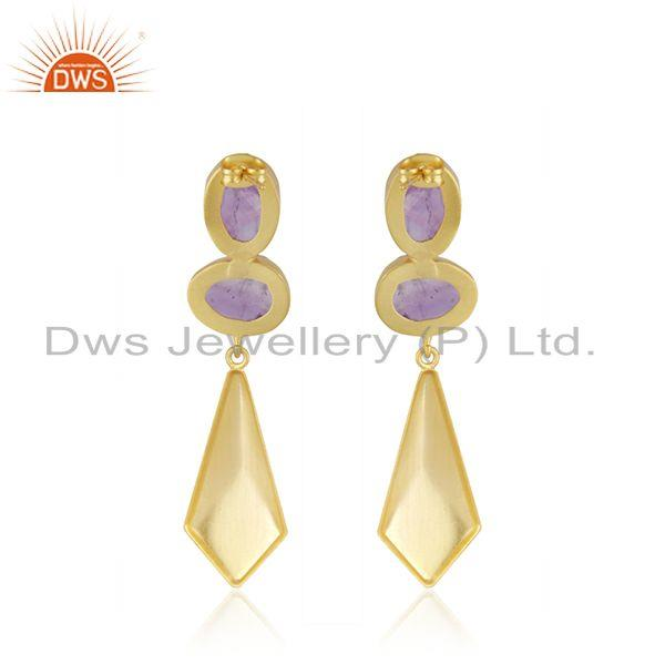 Suppliers Amethyst Gemstone 14k Gold Plated Brass Fashion Earrings Jewelry Manufacturer