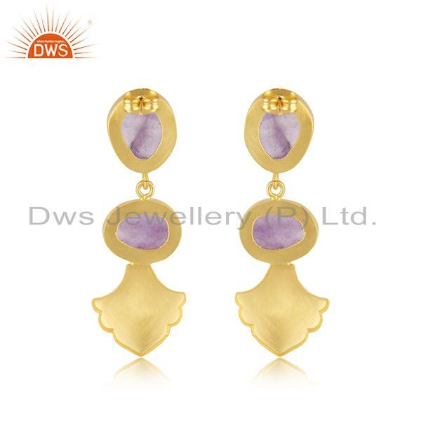 Suppliers Amethyst Gemstone Gold Plated Brass Fashion Earrings Jewellery Manufacturer