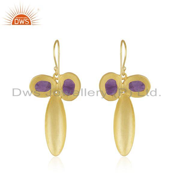 Suppliers Amethyst Gemstone Gold Plated Brass Fashion Earring Jewellery Manufacturer India