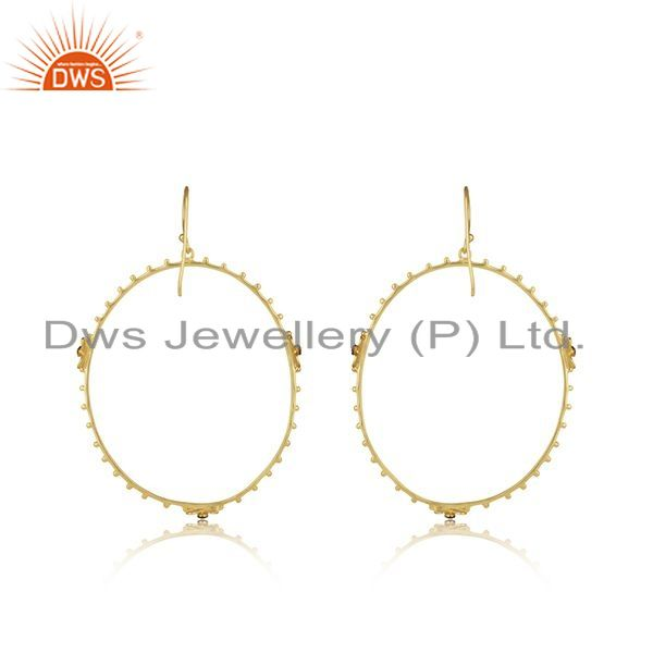 Suppliers Handmade 925 Silver Gold Plated White Zircon Round Earring Wholesale