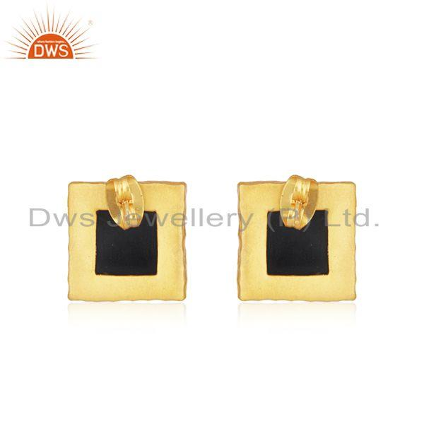 Suppliers Square Black Onyx Gemstone Gold Plated Brass Fashion Stud Earrings