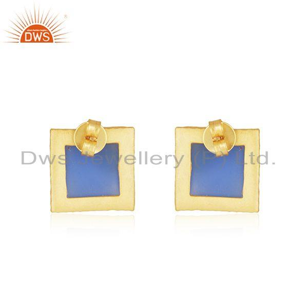 Suppliers Blue Chalcedony Gemstone Gold Plated Brass Fashion Stud Earrings