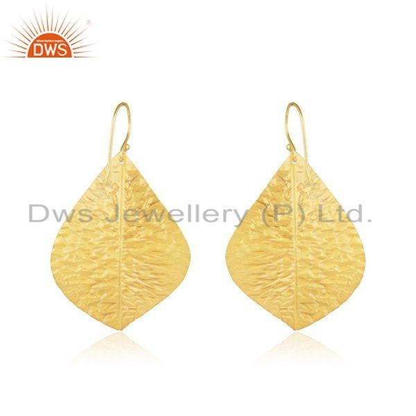 Suppliers Leaf Design Textured Gold Plated Brass Fashion Earrings For Womens