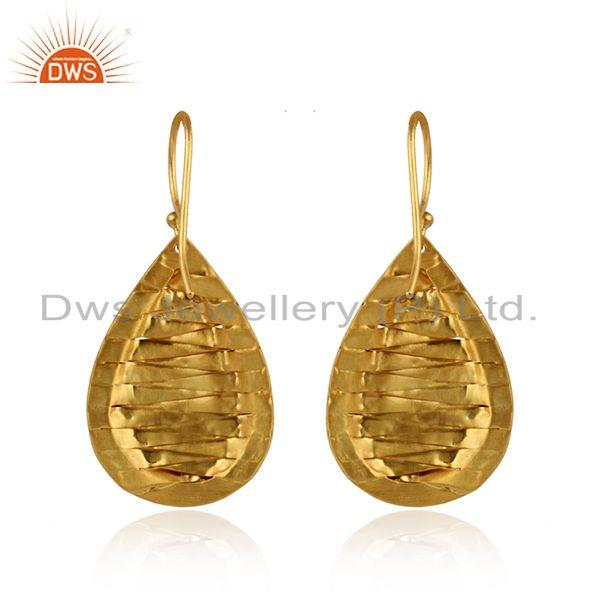 Suppliers Handmade Yellow Gold Plated Brass Fashion Drop Earrings Jewelry